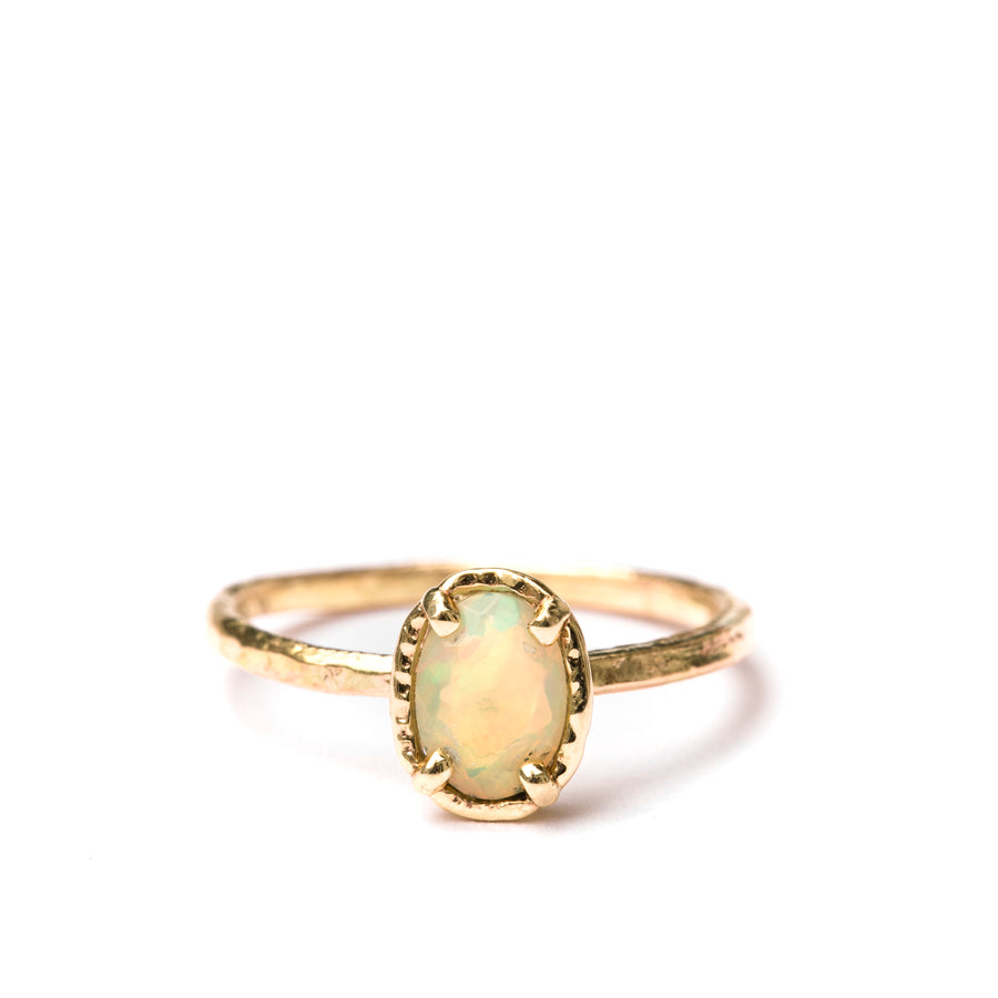 Opal Daze | Oval Opal Hammered Halo and Hammered Band