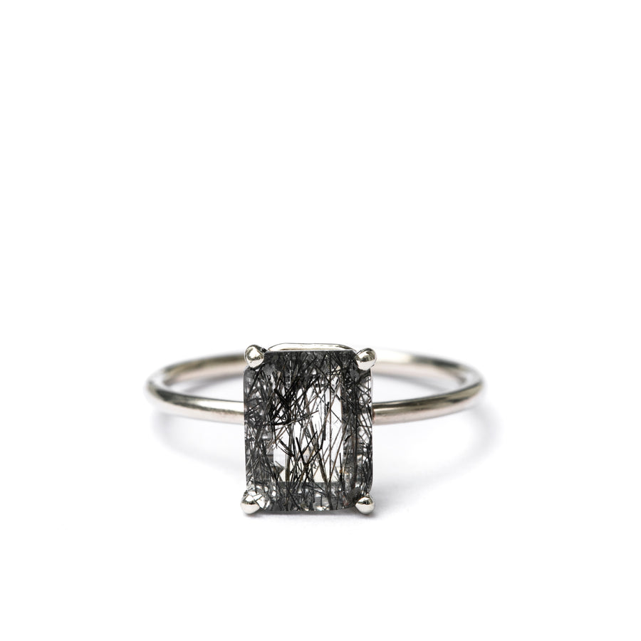 Nightshades | Black Tourmalated Quartz Engagement Ring - Melissa Tyson Designs
