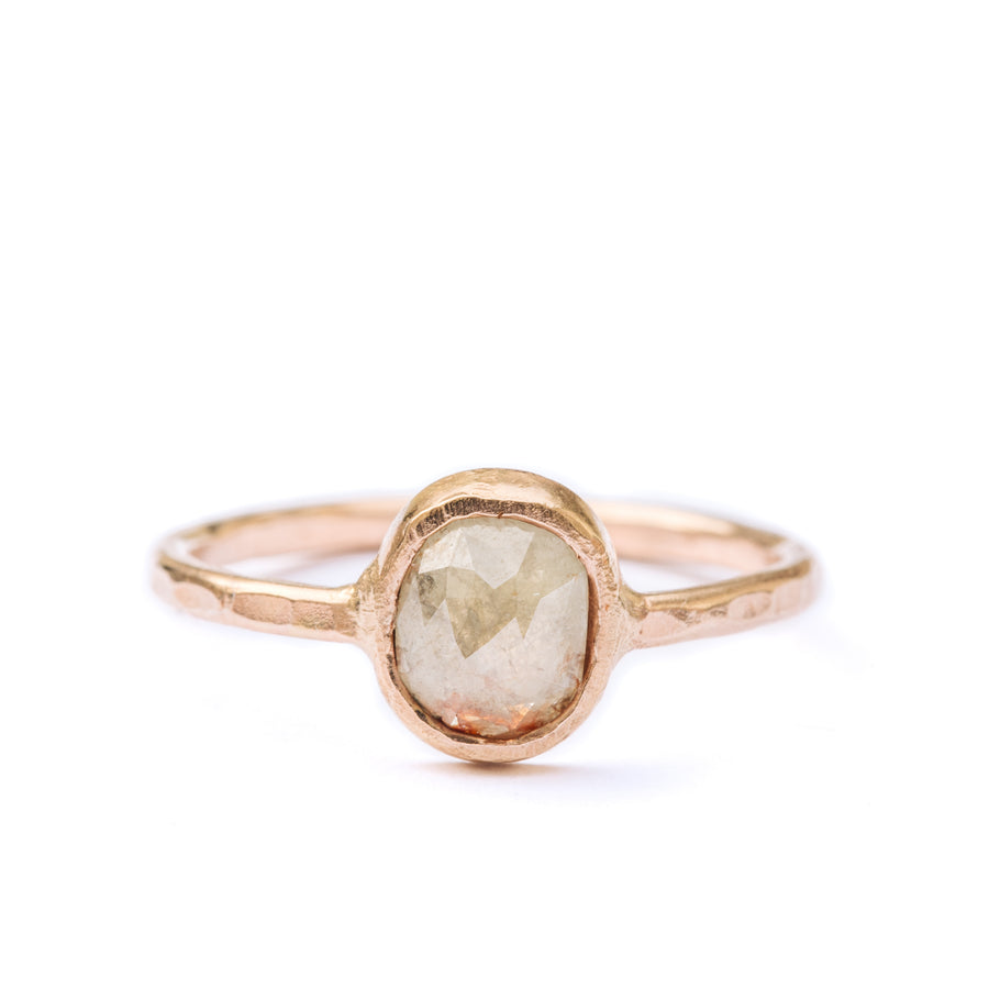 Painted Desert | Oval Rose Cut Champagne Diamond Engagement Ring