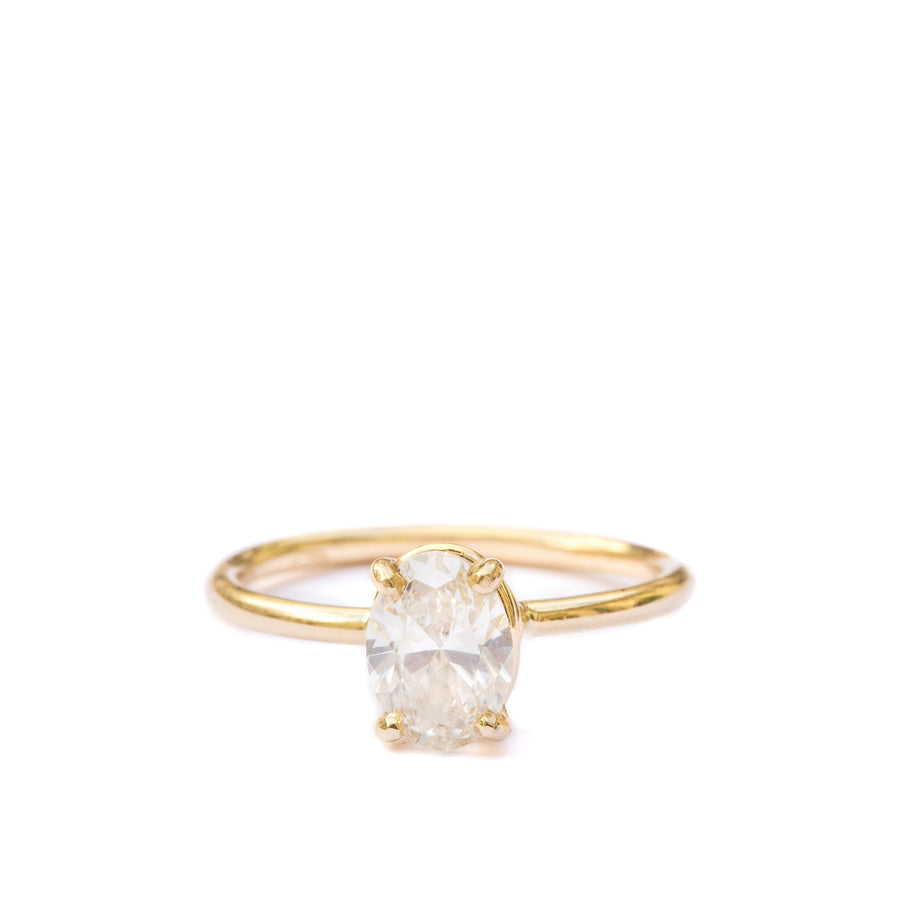 Ellie | Oval Engagement Ring Hammered Gold Band