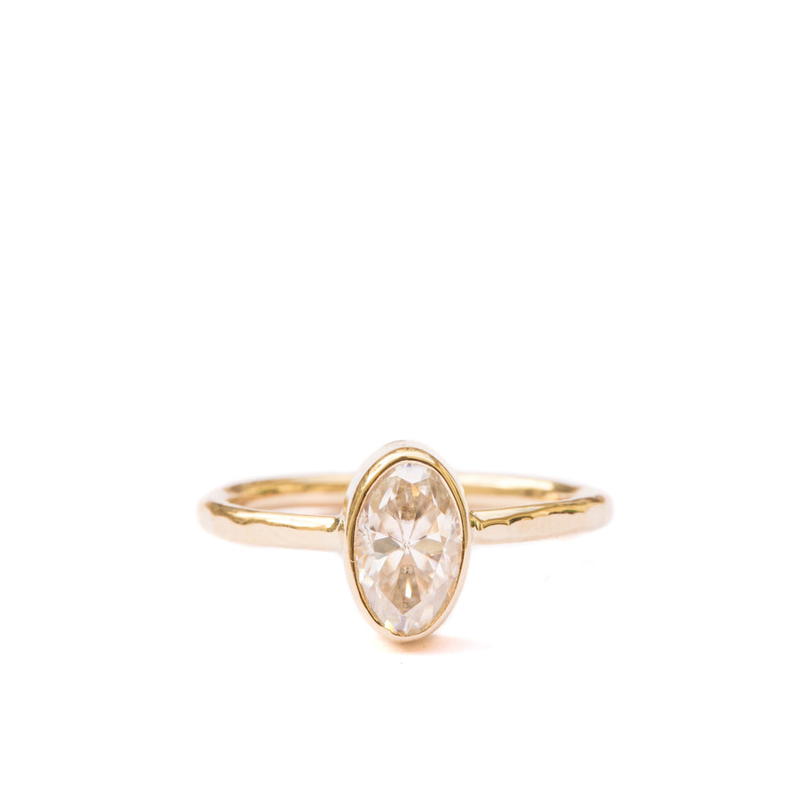 Eloise | Oval Moissanite Engagement Ring Hammered 14k Yellow Gold