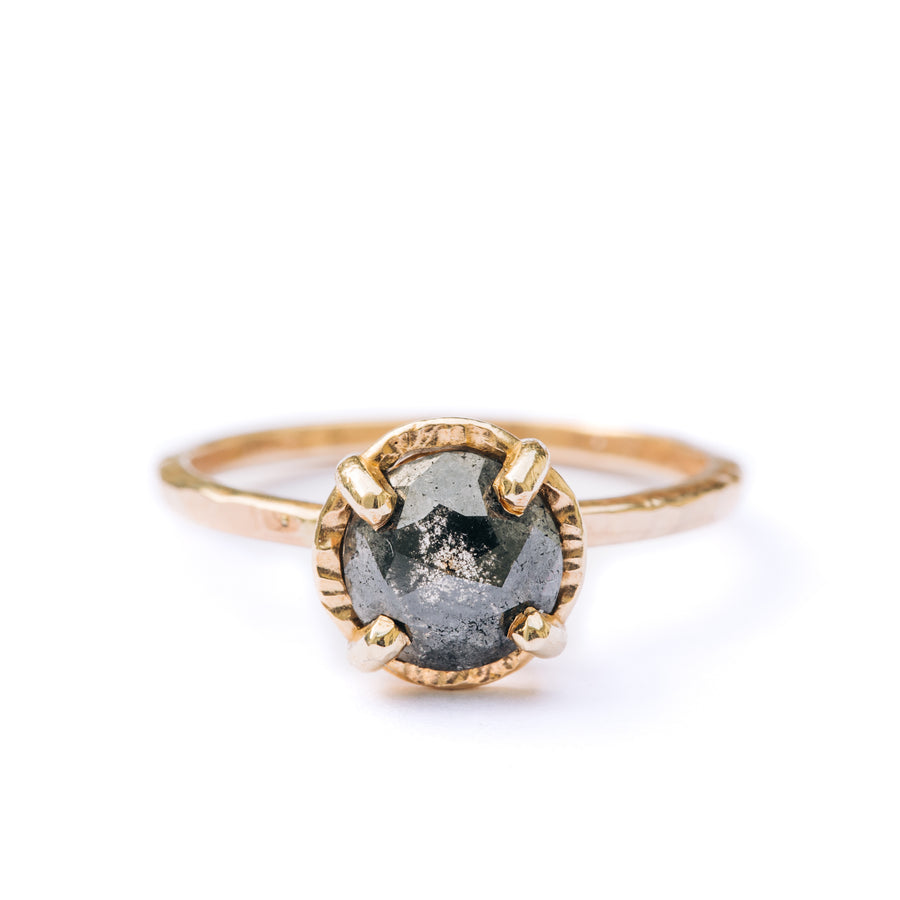 Galactic Dreams | Black Salt and Pepper Round Diamond Engagement Ring Hammered Halo