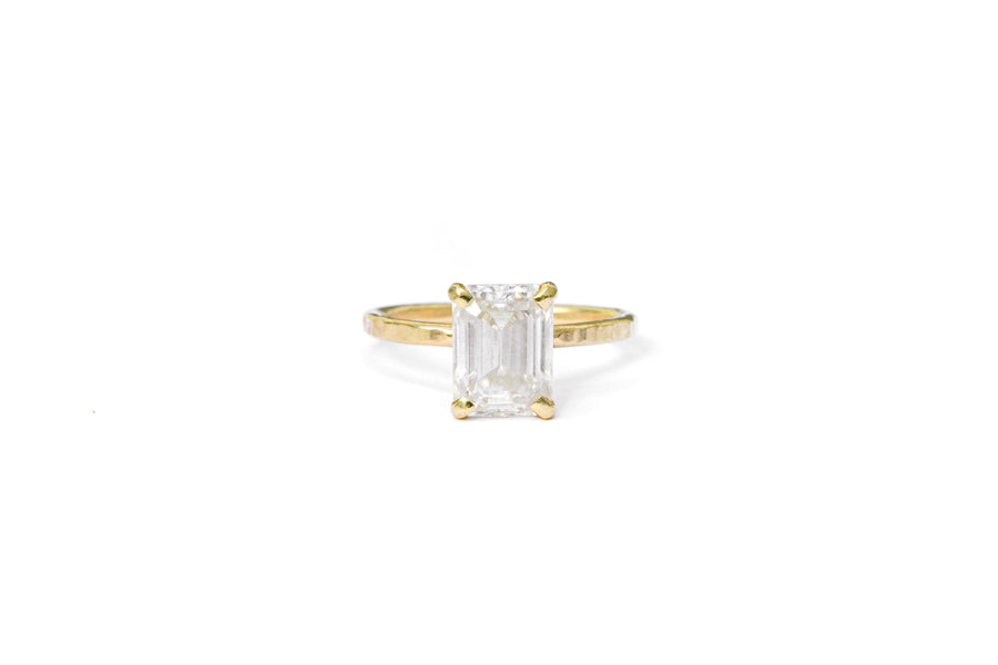 Anna Emerald Cut Moissanite Engagement Ring