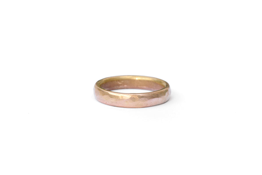 Clay Men's Hammered Wedding Band | Hammered 14k Rose Gold Mens Band - Melissa Tyson Designs