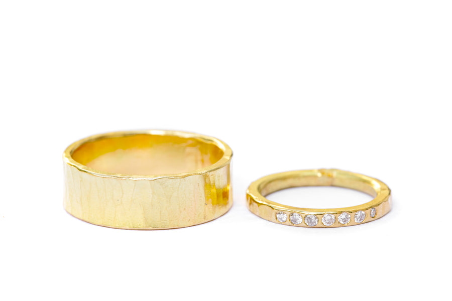 His and Hers Hammered Diamond Wedding Rings