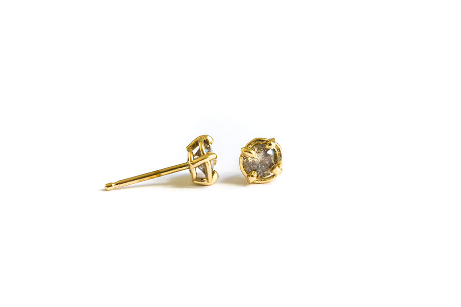 Salt and Pepper Diamond Studs | Gray Diamond Earrings