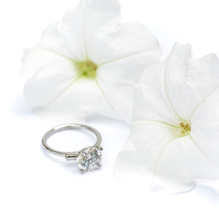Elana 2ct Moissanite Engagement Ring with Diamond Baguettes in Natural 14k White Gold
