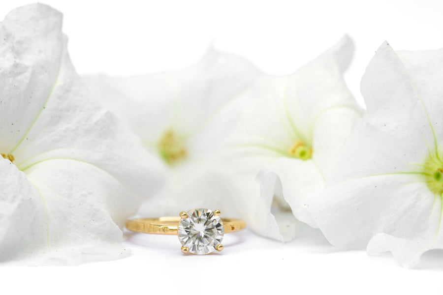 Round Moissanite Solitare Engagement Ring with Hammered 14k Thin Gold Band