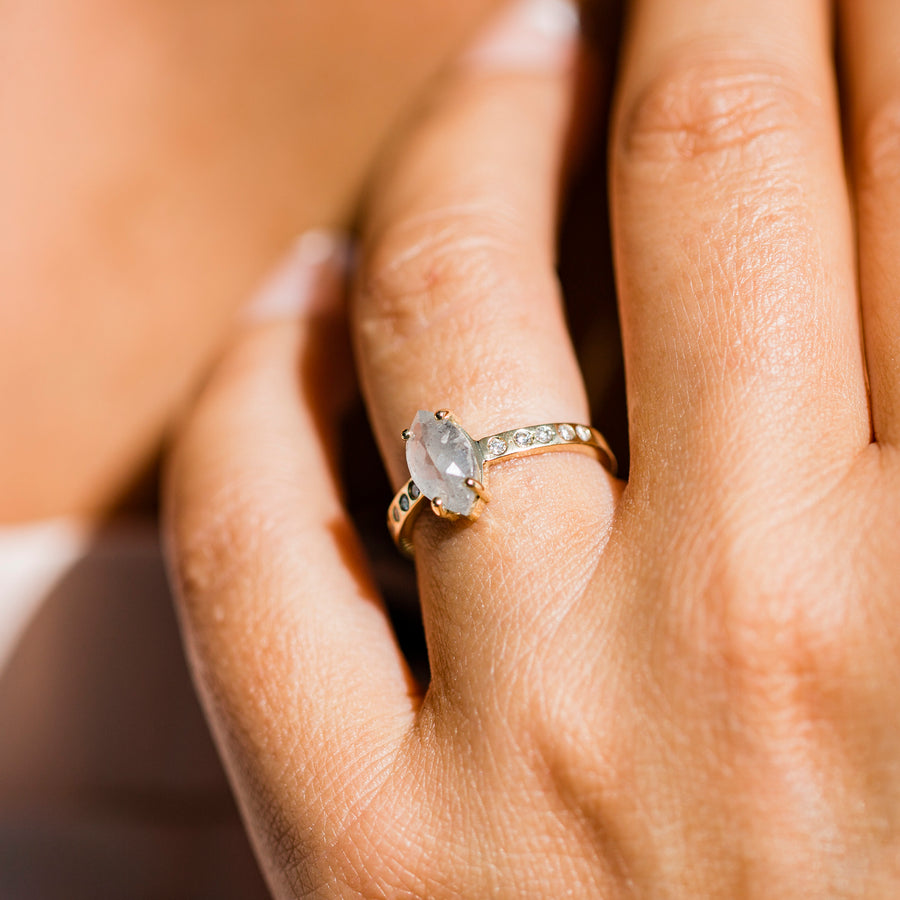 Grey Marquise Engagement Ring with a Hammered Band
