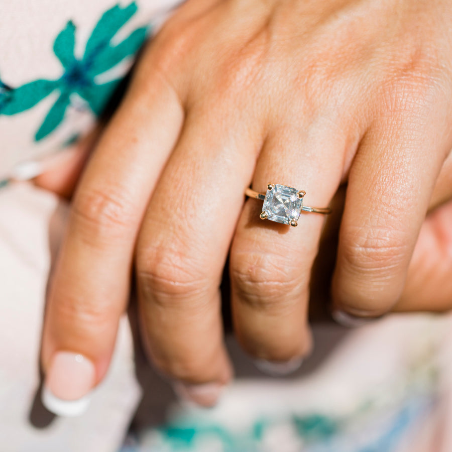 Carmin | Asscher Cut Moissanite with Diamond Baguettes Engagement Ring - Melissa Tyson Designs