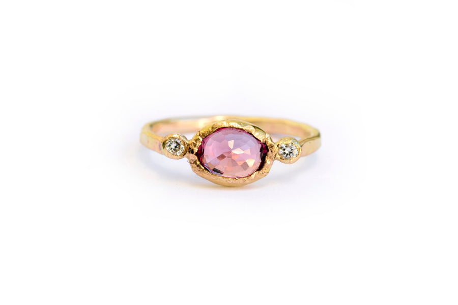 Cherry Blossom | Oval Pink Tourmaline and Diamond Engagement Ring - Melissa Tyson Designs