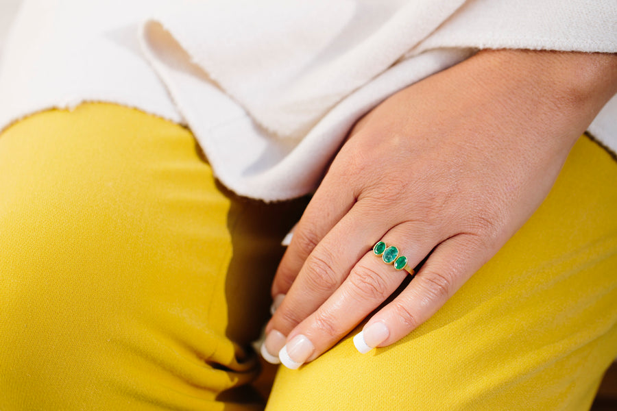 Triple Emerald Engagement Ring | Hammered 18k Gold Ring - Melissa Tyson Designs