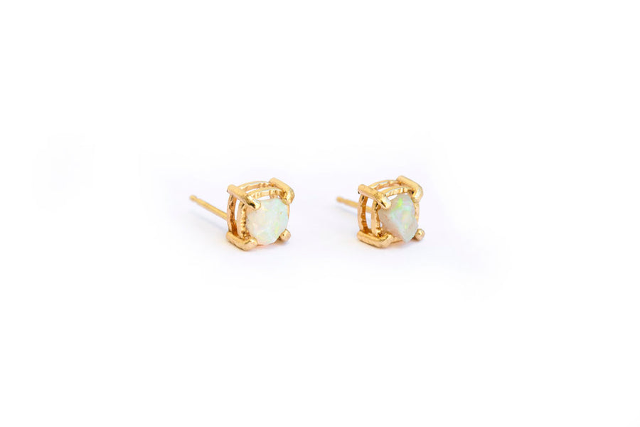 Raw Opal Studs | Raw Opal Earrings Hammered 14k Gold - Melissa Tyson Designs