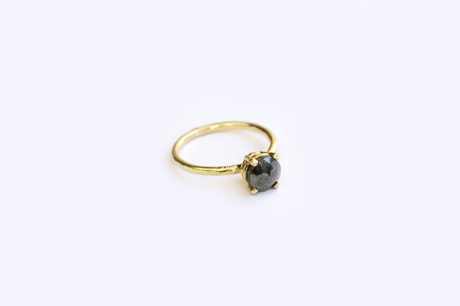 Rose Cut Black Diamond Hammered 14k Gold Engagement Ring