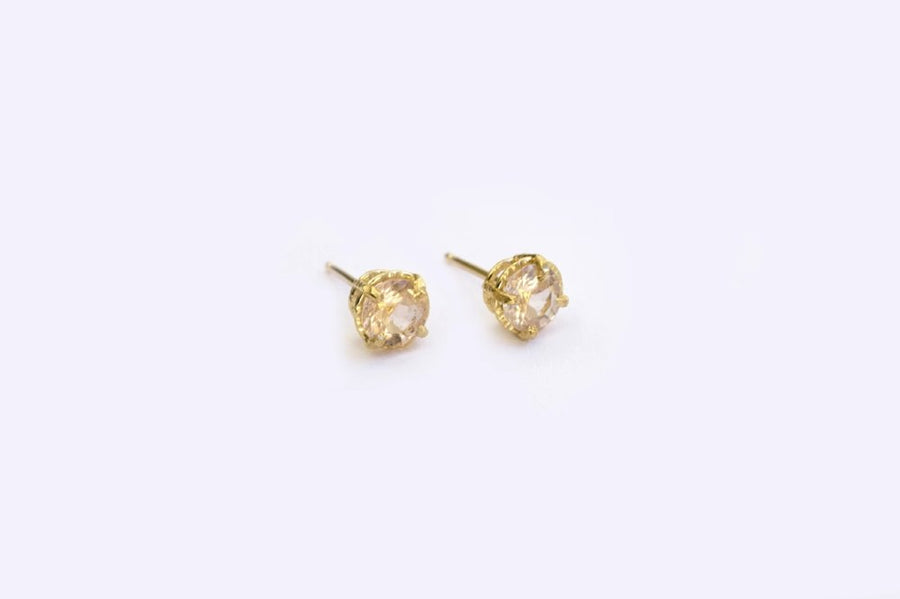 Round Pink Morganite Studs Hammered 14k Gold Earrings
