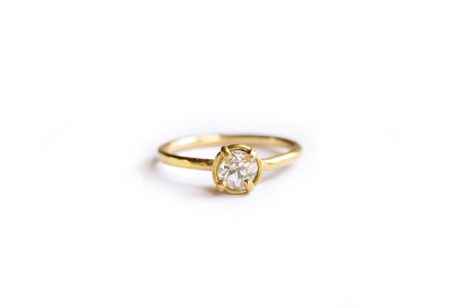 Old Mine Cut Diamond Engagement Ring Hammered 14k Recycled Gold