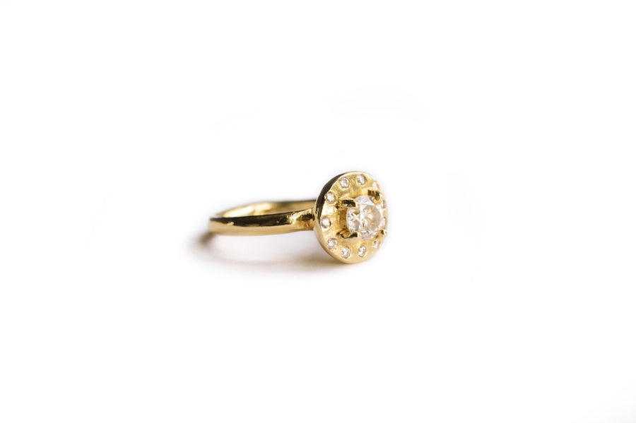 Diamond Halo Engagement Ring 14k Recycled Gold Organically Hammered