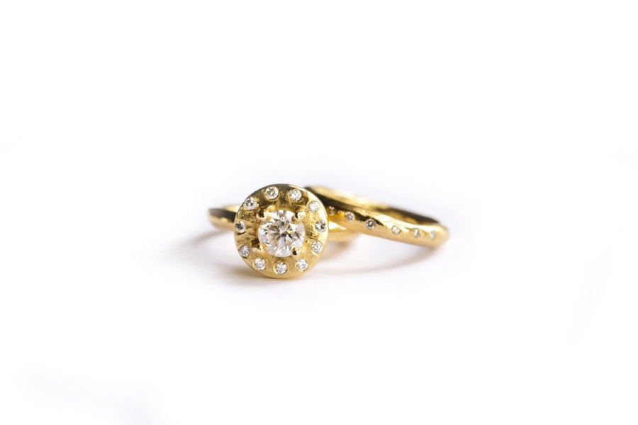 Diamond Halo Engagement Ring and Diamond Wedding Band Set 14k Recycled Gold