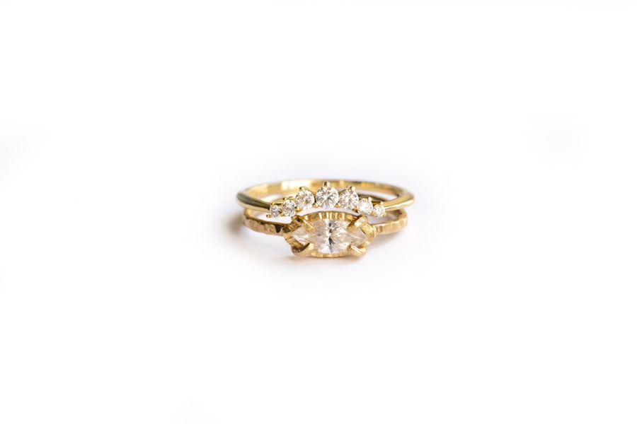 Fluttering Engagement Ring Set | Marquise Diamond Engagement Ring Hammered 14k Gold - Melissa Tyson Designs