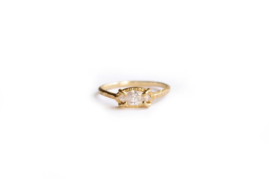 Marquise Diamond Hammered Halo 14k Recycled Gold Engagement Ring