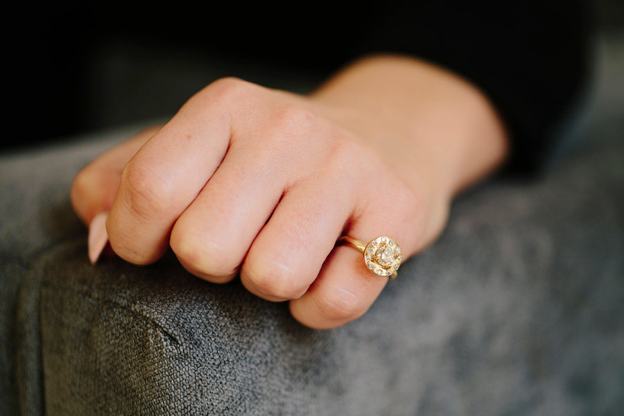 Diamond Halo Engagement Ring with Hammered 14k Recycled Gold