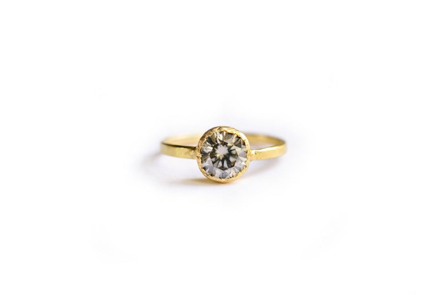 Gray Moissanite Engagement Ring Hammered 18k Recycled Gold