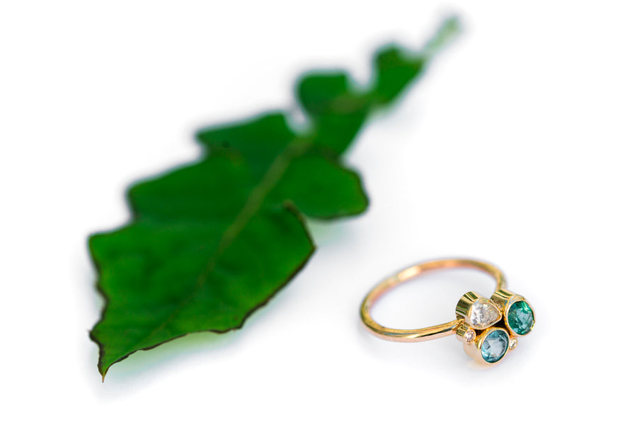 Tidal Pool Engagement Ring | Blue and Green Diamond Ring - Melissa Tyson Designs