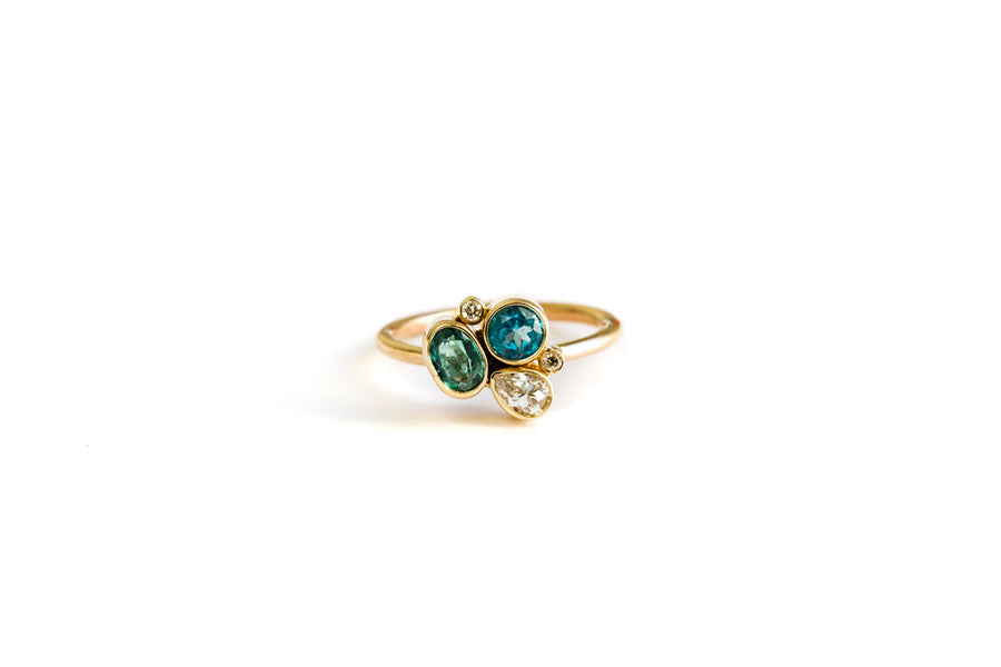 Blue and Green Diamond Ring