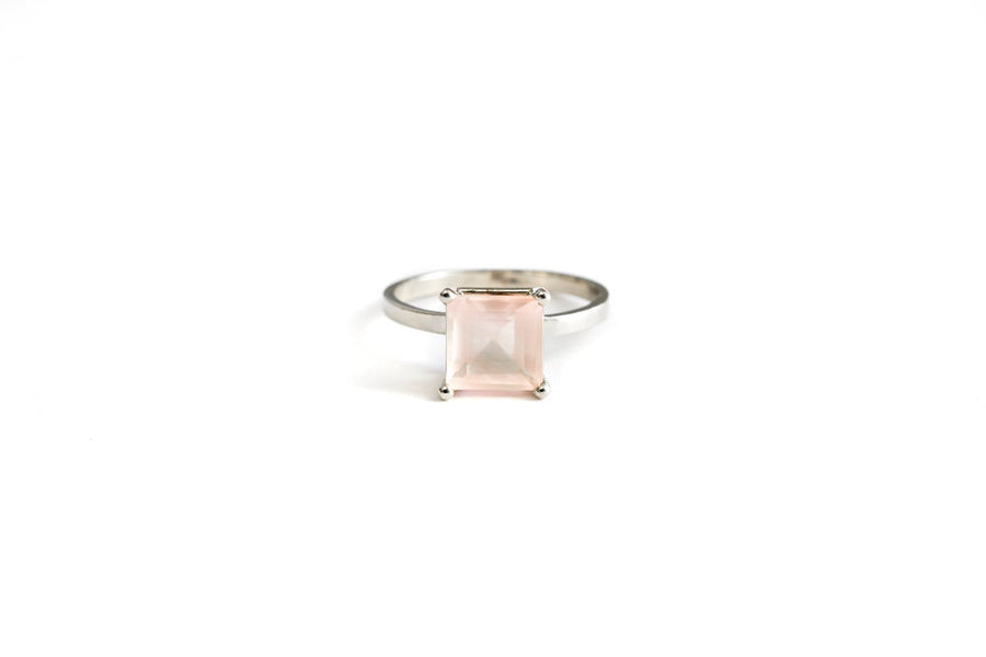 Pale Pink Rose Quartz Engagement Ring 14k White Gold - Melissa Tyson Designs