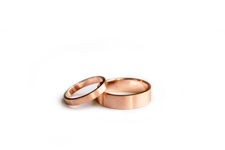 Brushed Wedding Band Set in 14k Rose Gold