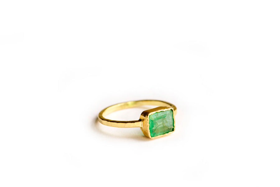 Emerald Engagement Ring with Hammered 18k Gold Band