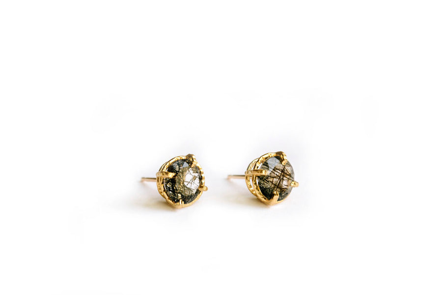 Black Wisp Studs | Tourmaled Quartz Studs Hammered 14k Gold - Melissa Tyson Designs