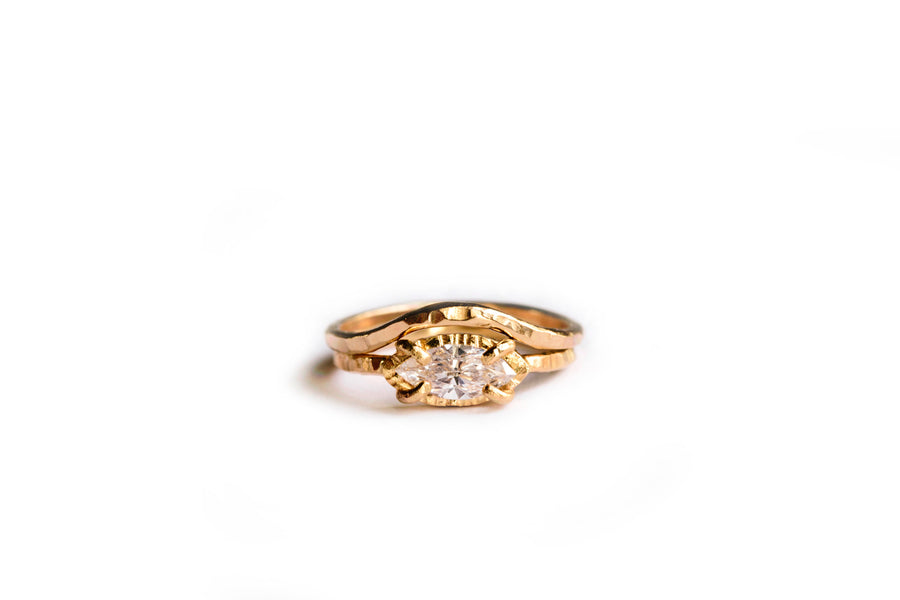 Marquise Diamond Hammered Halo Engagement Ring Set