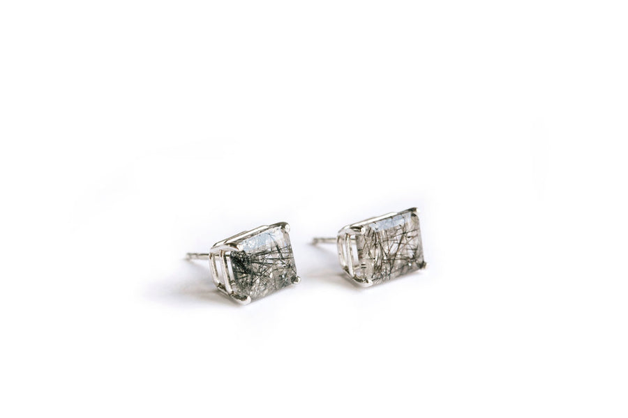 Emerald Cut Black Tourmline Stud Earrings