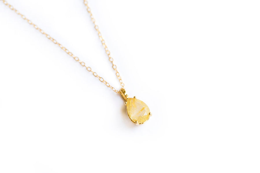 Wisp Pear Necklace | Pear Rutilated Quartz Necklace 14k Gold - Melissa Tyson Designs