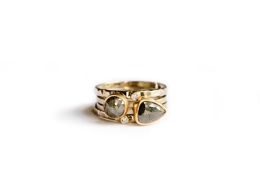 Hammered Recycled 14k Gold Rose Cut Gray Diamond Stacking Rings