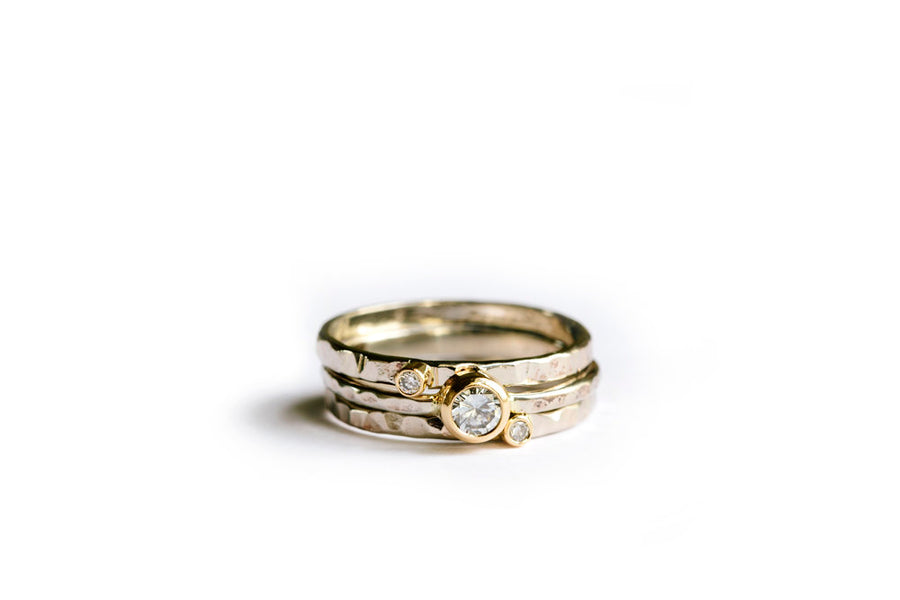 Diamond Hammered Stacking Rings - Melissa Tyson Designs