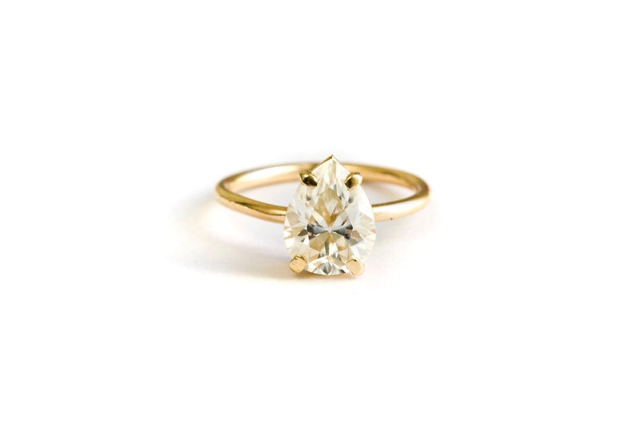 Persian Pear Moissanite Engagement Ring 14k Gold