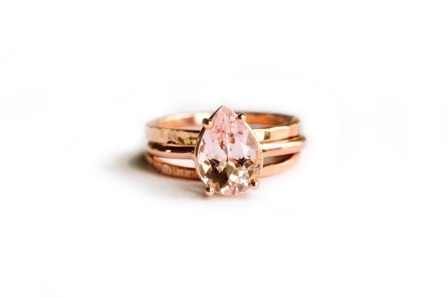 Pretty in Pink Stacking Set | Pear Morganite Engagement Ring Set - Melissa Tyson Designs