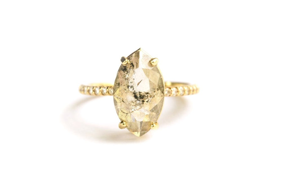Kate | Salt & Pepper Diamond Marquise Engagement Ring Delicate - Melissa Tyson Designs