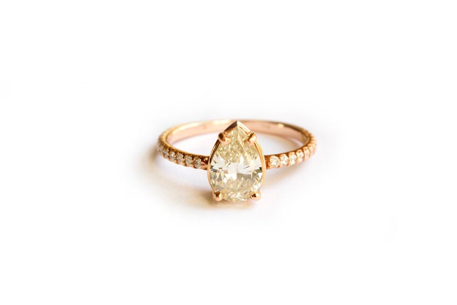 Deco-Inspired Pear Diamond and Rose Gold Engagement Ring