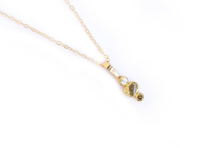 14k Hammered Gold Necklace with White, Gray, and Champagne Diamonds
