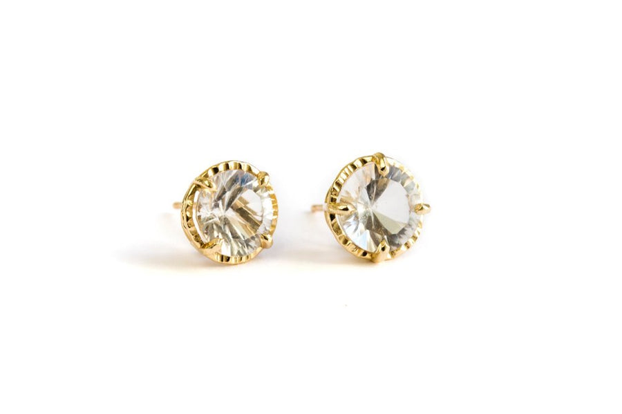 Round White Gemstone Stud Earrings