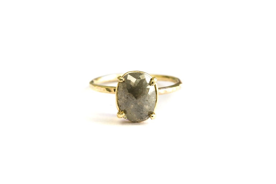 Serina | Oval Gray Diamond Engagement Ring Hammered 14k Gold - Melissa Tyson Designs