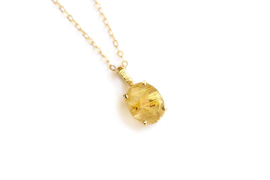 Oval Rutilated Quartz Necklace Set in 14k Gold