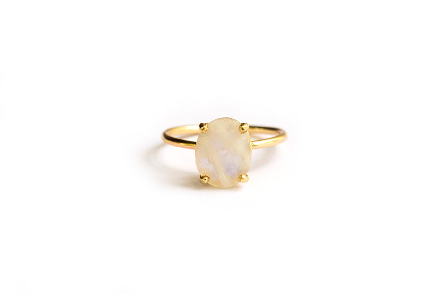 Oval Moon | Oval Moonstone Engagement Ring 14k Gold - Melissa Tyson Designs