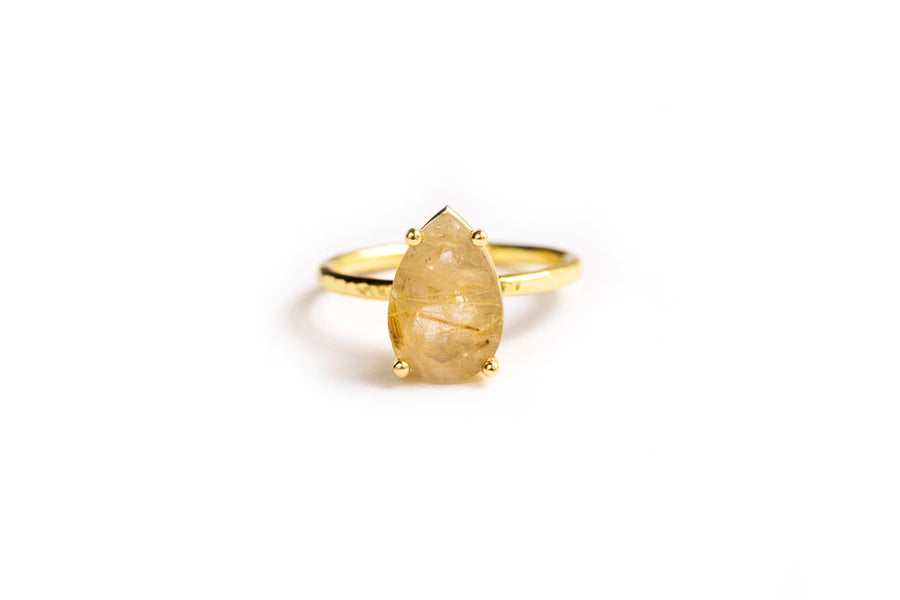 Pear Rutilated Quartz Engagement Ring 18k Hammered Gold