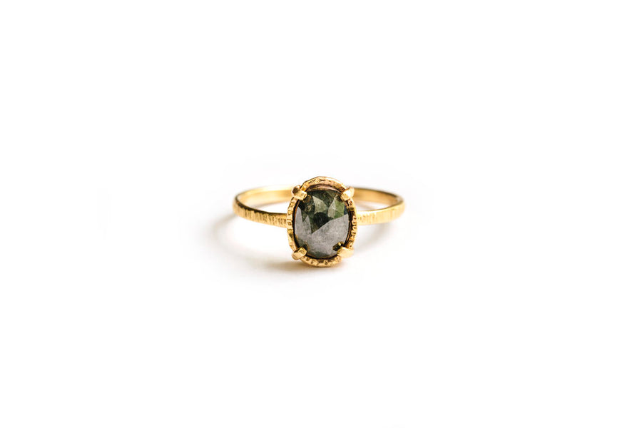 Sasha | Gray Oval Diamond Engagement Ring - Melissa Tyson Designs