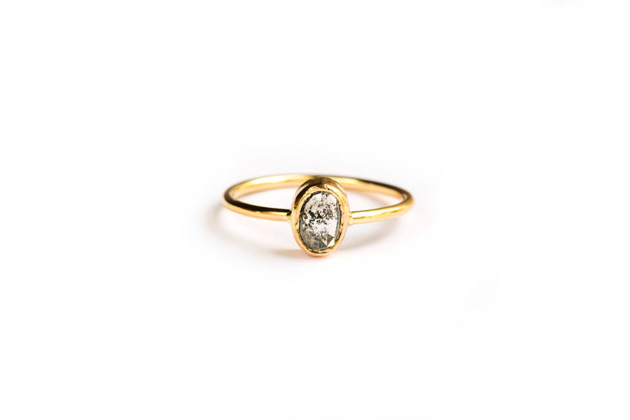 Oval Salt and Pepper Diamond Stacking Ring