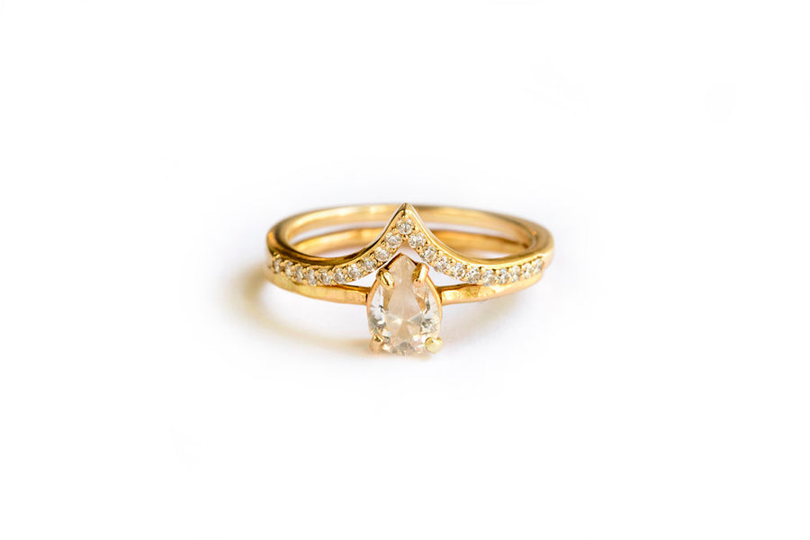 Petite Pear | Moissanite Pear and Diamond Engagement Ring Set - Melissa Tyson Designs